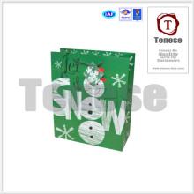 Sac en papier à bandoulière Lovely Snowman avec étiquette