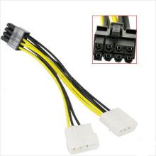 Adaptador 8pin PCI-E para 2X 4 pinos Molex VGA Power Cable