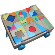Wooden Buiding Blocks Cart Save Spielzeug für Kinder