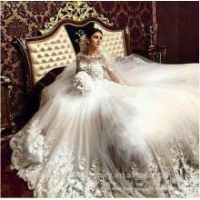 Robe de mariage perlas rebordeado de manga larga encaje catedral tren vestidos de boda vestido de baile CWFw2381