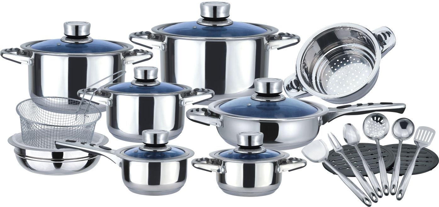 Cookware set with T shape glass lid