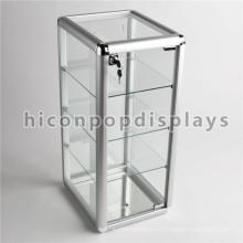Einfache Tischplatte Abschließbare Kleine Zubehör Shop Merchandising 4-Tier Glas Display Units Zu Verkaufen