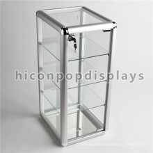Simple Table Top Lockable Small Accessories Shop Merchandising 4-Tier Glass Display Units For Sale