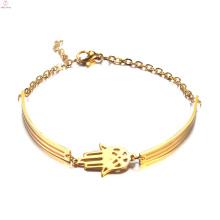 Women Fashion Jewelry Simple Stainless Steel Gold Hamsa Hand Bangle Bracelet