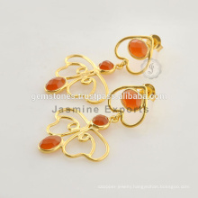 Beautiful Gold Vermeil Fanta Chalcedony Silver Gemstone Earring For Very Special Day Christmas