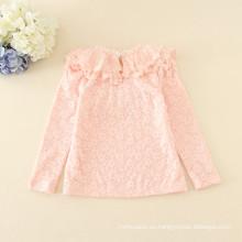 Los niños del paño grueso y suave de la venta caliente del invierno rosado appliqued la camiseta llena de la manga del precio barato para las muchachas del otoño buena calidad camisetas amarillas