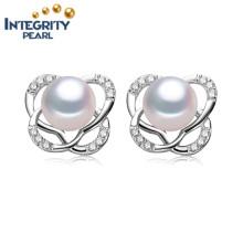 8-9mm Bouton AAA Boucles d'oreille en perles d'eau douce Boucles d'oreilles Boucles d'oreilles en or blanc