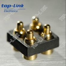 Mola de bronze banhado a ouro carregado contato Pin com dupla linha