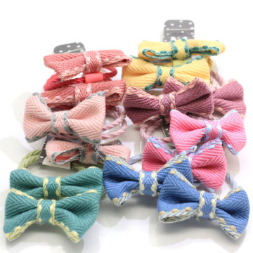Handmade Fabric Bows Hair Tie Ponytail Holder Boutique Hair Bows Elastic Hair Ties Bands Pigtail Holders For Baby Girls