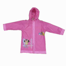 Girl's pink lovely Pvc Raincoat with hood
