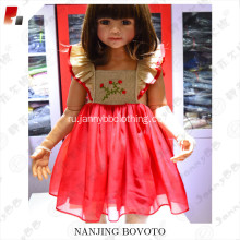 Wholesale red organza christmas flutter sleeve dress