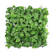 12 pieces 50x50 cm cheap vertical green artificial plastic hedge leaves wall