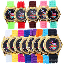 Owl dial candy color jelly silicon watch with diamond