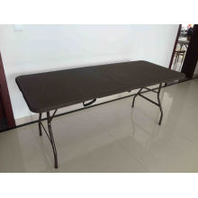 6FT New Design Rattan Style of Plastic Folding Table