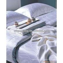 En gros pas cher coton 300T vérifier motif blanc King Size literie de l'hôtel