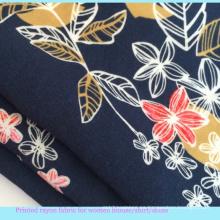 2016 flor impresa señora camisa de tela de viscosa