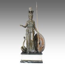 Mythology Figure Bronze Sculpture Athena Home Decor Brass Statue TPE-113