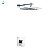 KI-09 stocks usine prix salle de bains laiton chromé douche de pluie carrée et poignée grande douche cachée