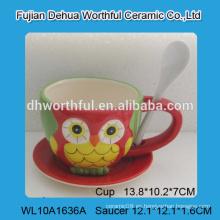 Taza de café de cerámica del diseño encantador del búho con la cuchara, taza de café de cerámica con el platillo