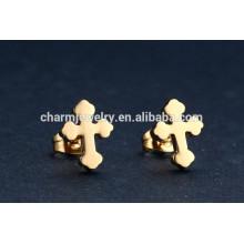 Chino al por mayor Cruz de acero inoxidable Stud Earrings para Unisex ZZE016