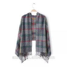 Ladies new arrival plaid viscose long scarf/shawl
