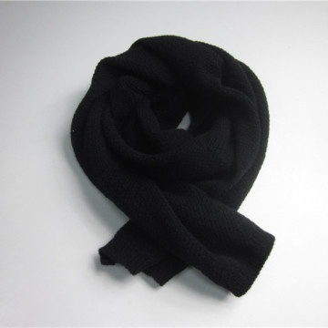 Black Long Knitting Polyester Scarf