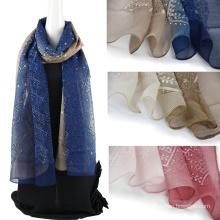 Bufanda de seda del 100% del emboidery del color de dos tonos con Sequins