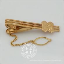 Clip de corbata de oro con insignia y alfiler de cadena (GZHY-TC-072)