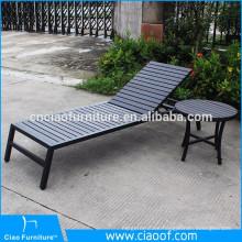 Leisure outdoor plastic-wood sun lounger