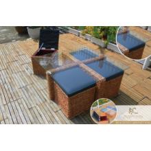 Nuevo diseño de sala de estar sofá de mimbre conjunto (tejido a mano por mimbre, jacinto y marco de madera)