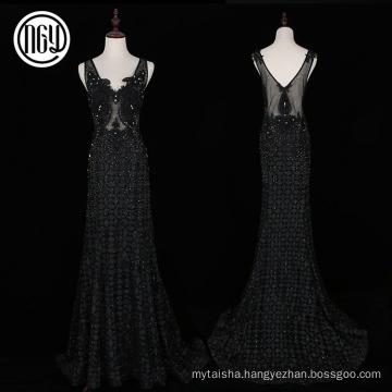 Handwork beautiful black floral celebrity long dresses evening
