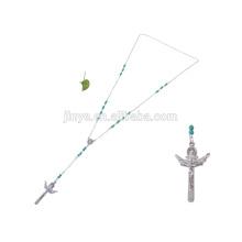 Collier de chaîne de croix de chapelet de perles de mode, collier de perle de croix de turquoise