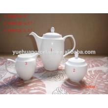 Branco porcelana pote de chá de cerâmica com pote de leite de açúcar