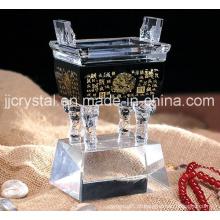 China Glass Art Ancient Chinoiserie Crystal Ding com base preta
