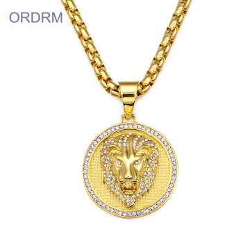 Mens Punk Gold Crystal Lion Medallion Necklace