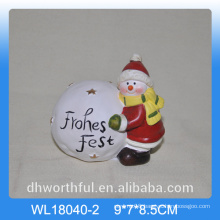 Christmas snow ball ceramic decor with snowman design