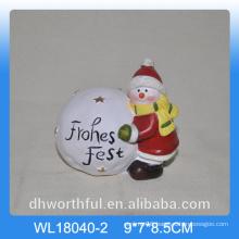 Christmas snow ball ceramic decor with snowman design