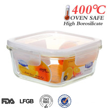 heat resistant borosilicate glass container for food 800ml