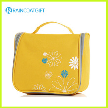 Polyester Yellow Zipper Closure Cosmetic Case Bag
