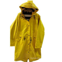 Yellow Solid Hooded PU Reflective Raincoat for Women