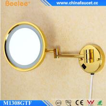 Espejo LED de maquillaje de un solo lado flexible dorado de pared