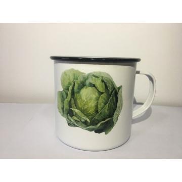 Enamelware Mug Vintage Vegetable Patten