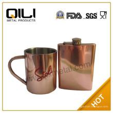 Cobrizado de acero inoxidable frasco de la cadera y taza