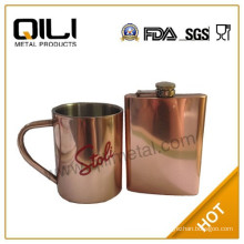 Copper plating stainless steel hip flask and mug