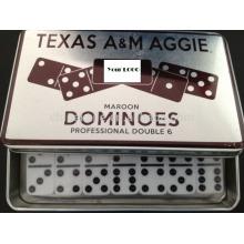 Domino de marfil en caja de hierro blanco / Tin Box