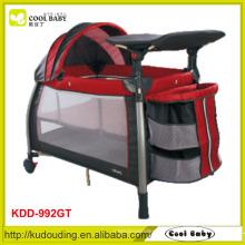 Fabricante NOVO Safety Baby Playpen Double Layer com colchão Canopy com brinquedos 3 Layer Storage Prateleira