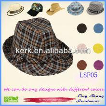LSF05 Ningbo Lingshang 2014 Beautiful Checked Fabric Fedora warm hats