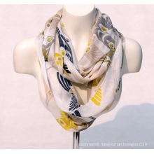 Women′s Bamboo Printing Spring Autumn Summer Woven Beach Cover Shawl Scarf Loop Snood (SW126)