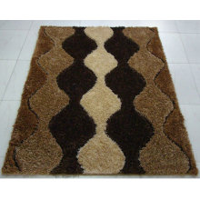The Floor Mat with Stretch Yarn and Silk Black White Gray