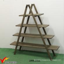 4 Tier Shelf Folding Wooden Ladder Display